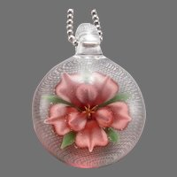 Vintage Glass PAPERWEIGHT Pendant on Sterling silver Ball Chain Necklace 18.4g
