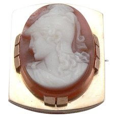 Antique Victorian 18K GOLD Hand Carved Hardstone Warrior Cameo Brooch Pin 6.3g