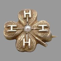 Vintage 10K Yellow Gold 4-H Club 4 Leaf Clover Pearl Small Lapel Pin 4H 1 Gram