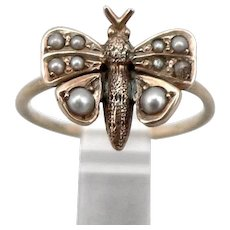 Antique Victorian 14K Yellow GOLD Seed Pearl Butterfly Ring Insect 1.5g Size 3