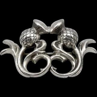 Vintage BEAU Sterling Silver Scottish Thistle Pin Brooch 4.5 grams Estate
