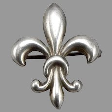 Vintage STERLING Silver Fleur De Lis Lapel Watch Pin Brooch 2.8g Plain & Simple