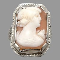 Vintage Art Deco 14K White GOLD Filigree Hand Carved Shell Cameo RING 2.9g Size4