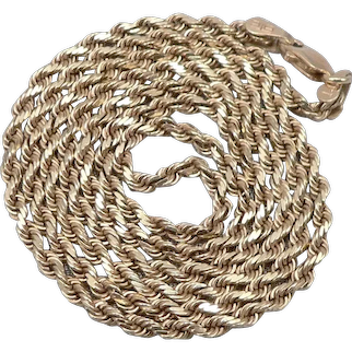 """Vintage 14K Yellow GOLD 2mm Wide ROPE TWIST Chain 20"""" Long NECKLACE Heavy 9.3g"""