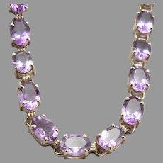 "Vintage 10K Yellow GOLD 20-Stone 17tcw Amethyst Bracelet 8.3 Grams 6 13/16"""