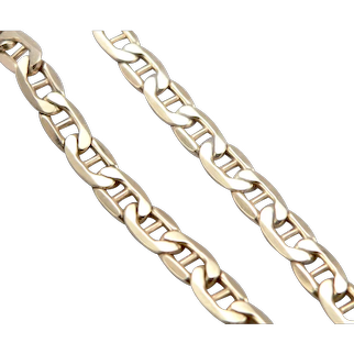 """ITALY 14K Yellow Gold 5.4mm Anchor Mariner Link Chain 7.75"""" Bracelet 6.1g Hollow"""