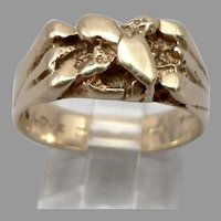 "Vintage 14K Yellow GOLD Nugget Style Ring 5/16"" Wide Heavy 7.2 Grams Size 9.25"