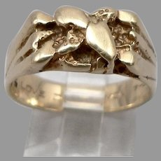 """Vintage 14K Yellow GOLD Nugget Style Ring 5/16"""" Wide Heavy 7.2 Grams Size 9.25"""