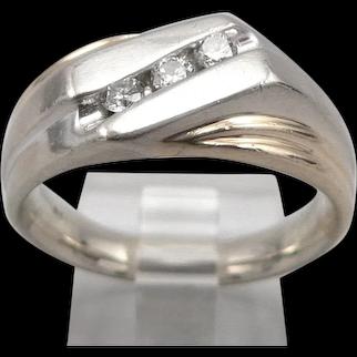 Vintage 14K Yellow White Gold 3-Stone .24tcw Diamond RING 13.4 Grams Size 9.5