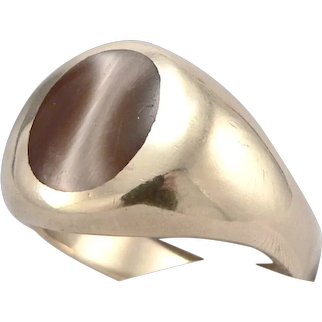 Vintage 10K Yellow GOLD Inlaid Ring 9.7 Grams Simulated Cat's Eye Size 10.5+