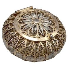 Vintage 800 Silver Filigree Trinket Box Pill Case Jewelry Italy Italian Hallmark