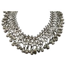 Vintage SILVER Fancy Tribal Necklace Middle Eastern India Wedding Bell Dangle