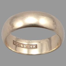 Vintage 14K Yellow GOLD 6mm Wide Band Ring 4.8 Grams Size 6.25 Estate