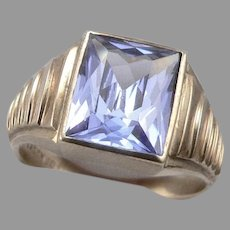 Vintage 10K Yellow GOLD 7.32tcw Lab Blue Spinel Men's RING 6.8 Grams Size 13.25