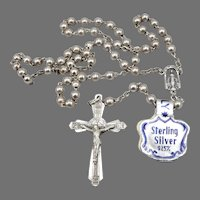 ITALY Vintage STERLING Silver Round 4mm Bead BEADED ROSARY Cross Crucifix 11.5g
