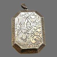 Vintage SIAM STERLING Silver Engraved Large Locket Pendant 28.5 Grams Estate
