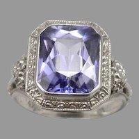 Antique Art Deco 14K White GOLD Purple Sapphire Ring 3.4g Size 4.75 Vintage