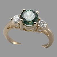 DIAMONIQUE 14K Yellow GOLD CZ and Green Simulated Emerald RING 3.1 Grams Size 6