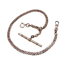 "Vintage Antique GF/RGP Pocket Watch Chain 11.5"" Long 17.3g Heavy Link T-Bar"