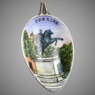 Vintage 800 Silver Enamel CARACAS Souvenir Spoon Venezuela Scenic Enameled Bowl