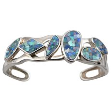 Sterling Silver Opal Mosaic Whitney Kelly Cuff Bracelet Signed 925 WK 28.4 grams
