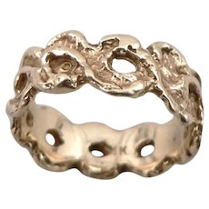 Vintage 14K Yellow GOLD Cast Openwork RING Band 3.4 Grams Size 4 Pinky Estate