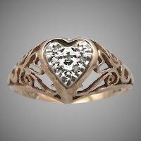 10K Yellow GOLD Heart 8-Stone Diamond Ring 1.6 Grams Size 7 Filigree Openwork