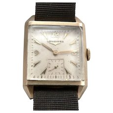 c1950's Vintage LONGINES Men's WRISTWATCH Tank Wrist Watch 17j SWISS Gold Filled