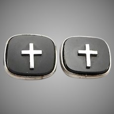 Vintage CREED STERLING Silver Black Glass CROSS Cufflinks 10.2 Grams Religious