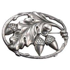 Vintage FELCH & Co. STERLING Silver Acorn Oak Leaf Pin Brooch Danecraft 11.2g
