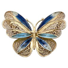 Vintage 925 Sterling Silver Filigree Plique a Jour Enamel BUTTERFLY Pin Brooch