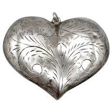 Vintage Large Engraved SILVER 3D HEART Pendant Scroll Flat Puffy Design 8.6grams