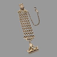 Antique Victorian Gold Filled Belt Clip Pocket Watch Chain Wax Seal Fob GF/RGP