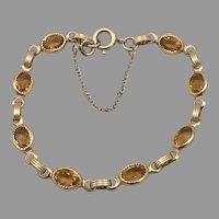 """Vintage DANECRAFT Gold Filled Citrine Glass Jewel Bracelet 6.5"""" Signed"""