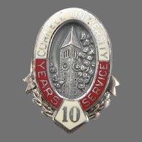 Vintage CORNELL UNIVERSITY Sterling Silver 10 Year Service Award Lapel Pin Tie Tack Enamel