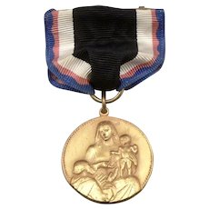 Vintage Catholic Religious Medal on Ribbon Pin Mary Rosary Baby Jesus Goldtone