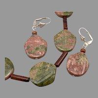 Vintage JASPER Petal Tube Bead Necklace EARRINGS SET Leverback Pierced Dangle