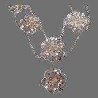 Vintage Silver Filigree 8 Flower Necklace Intricate Handmade Wirework Details