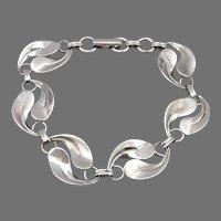 """Vintage BEAU STERLING Silver Leaf Link 6.75"""" Bracelet Foliate Design 9.2 Grams"""
