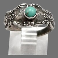 Vintage TOWLE STERLING Silver Turquoise Spoon Ring Old Master Pattern 3.2 Grams