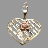 10K Yellow GOLD Openwork Heart Pendant ROSE Gold Flower on Chain Necklace 1.4g