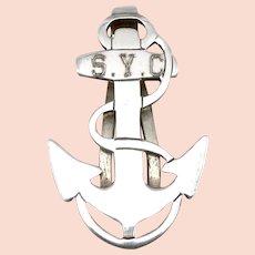 Vintage STERLING Silver Seneca Yacht Club ANCHOR MONEY CLIP R. Blackington Co.