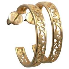 """Yellow 14K GOLD 3.5mm Wide Filigree Openwork 7/8"""" Half Hoop Pierced EARRINGS 3.7 Grams Estate"""
