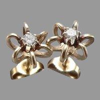 Vintage 14K Yellow GOLD 0.15tcw DIAMOND Pierced Stud EARRINGS Star Nest 1.5Grams