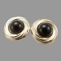 Vintage 14K Yellow GOLD 6mm Black Onyx Solitaire Pierced STUD Earrings 1 Gram