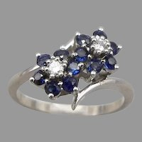 Vintage 14K White GOLD Blue Sapphire Diamond Flower Bypass RING 2.9g Size 6.25