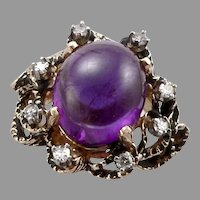 Vintage 14K Yellow GOLD 5.1ct AMETHYST Cabochon Diamond Halo RING 7.4g Size 4.75