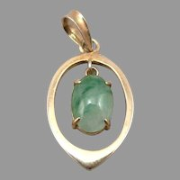 Vintage 14K Yellow GOLD Oval Cabochon Jadeite Jade Dangle Pendant 1.2 Grams