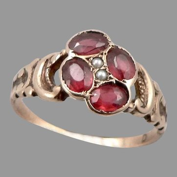 Antique Victorian 10K GOLD Garnet Topped Doublet Seed Pearl Ring 2.3g Size 6.5