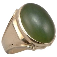Vintage 14K Yellow GOLD Green Nephrite JADE Cabochon RING 9 Grams Size 8.5 Men's